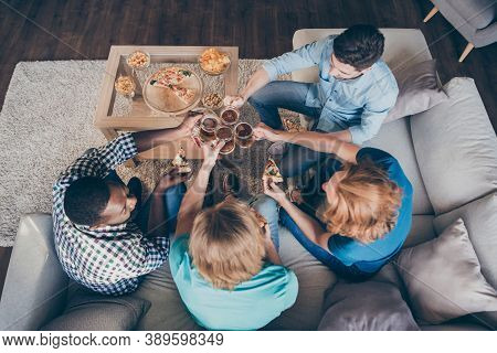 Top Above High Angle View Photo Of Positive Buddies Four Man Meeting Order Pint Beverage Mug Pub Del