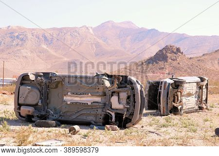 October 5, 2020 In Beatty, Nv:  Turned Over Abandoned Cars Placed At The Community Unofficial Junkya