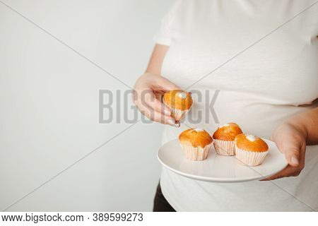 Obesity Prevention, Healthy Lifestyle, Diet. Fattening Food, High-calorie Snack. Overweight Woman Ea