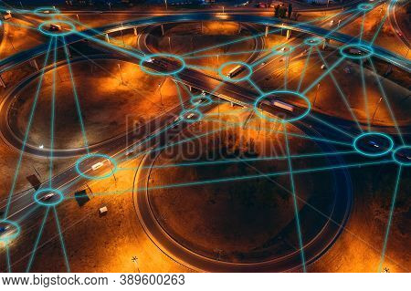 Autonomous Transportation Concept. Self-driving Cars And Trucks On City Roads And Transport Junction