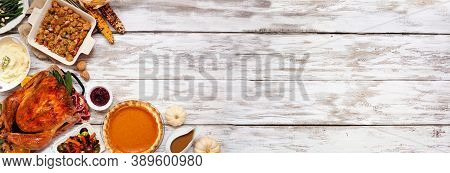 Traditional Thanksgiving Turkey Dinner. Top View Corner Border On A Rustic White Wood Banner Backgro
