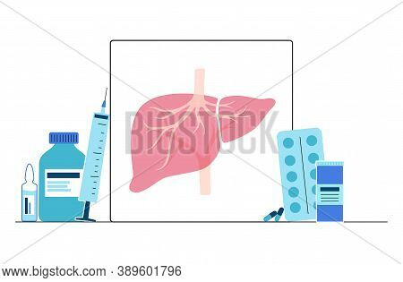 Liver Logo For Gastrointestinal Clinic Or Hospital. Cirrhosis, Hepatic Hepatitis, Fibrosis And Cance