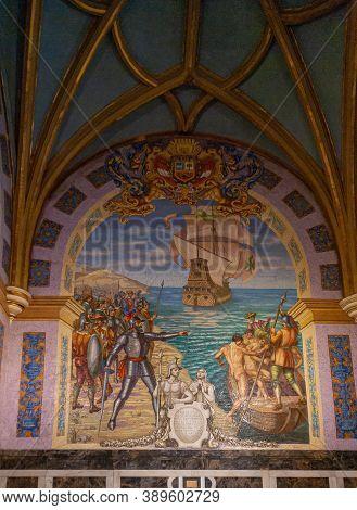 Lima, Peru - December 4, 2008: Wall Painting Of Conquistador Francisco Pizarro Arrival On Ocean Shor