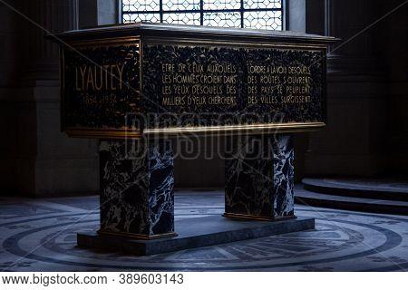 Paris, France - July 19, 2011: Marechal Hubert Lyautey Tomb In The Hotel Des Invalides Mausoleum. Hu