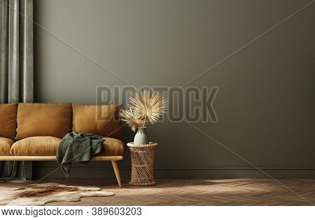 Modern Home Interior With Rattan Furniture And Dry Plant In Vase, 3d Illustration