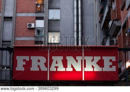 Belgrade, Serbia - August 27, 2020: Franke Logo On Their Office For Belgrade. Franke Is Swiss Indust