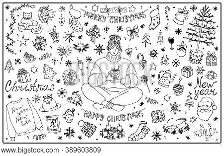 Big Set Of Christmas And New Year Elements. Hand Drawn Vector Isolated Illustration. Interior Decora