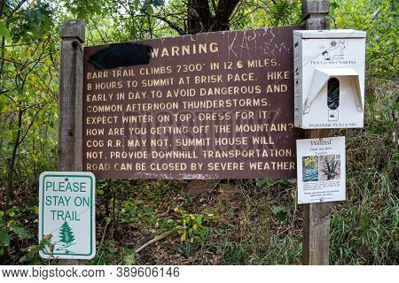 Manitou Springs, Colorado - September 15, 2020: Warning Sign At The Barr Trail Trailhead, Leading To