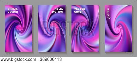 Gradient Helix Torsion Spin Cover Page Templates Vector Set. Fuzzy Brochure Front Pages Collection.