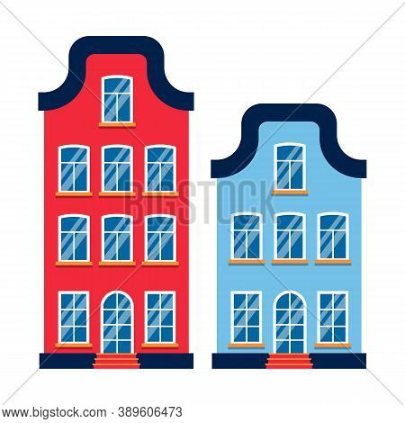 Two Cartoon Houses Colorful Architecture Amsterdam. Closeup Graphic Icon Townhouse, European Style.
