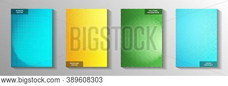 Random Circle Screen Tone Gradation Title Page Templates Vector Collection. Geometric Banner Faded S