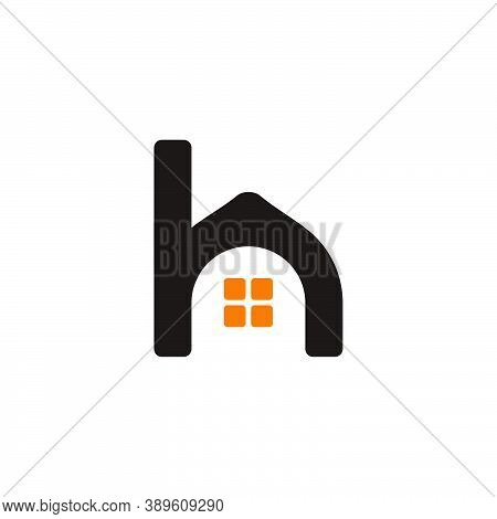 Letter H Lowercase Simple Home Shape Symbol Vector