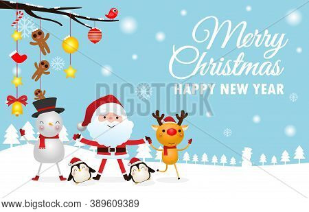 Merry Christmas And Happy New Year Greeting Card With Cute Santa Claus Holding Hand With Deer And Sn