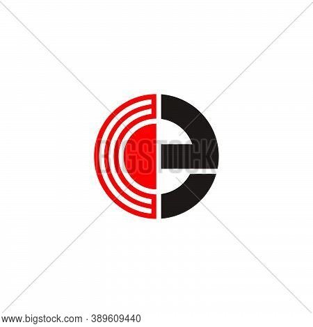 Abstract Letter Ce Simple Stripes Geometric Circle Logo Vector