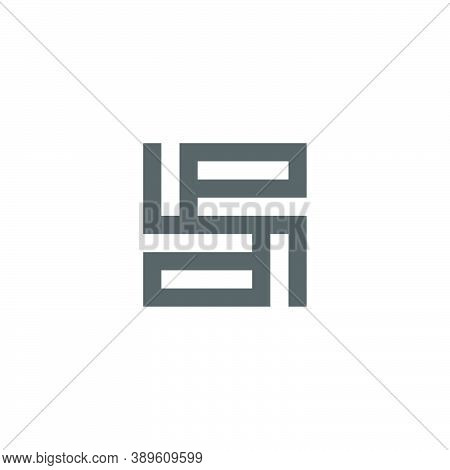 Letter Pd Abstract Square Geometric Square Line Logo Vector