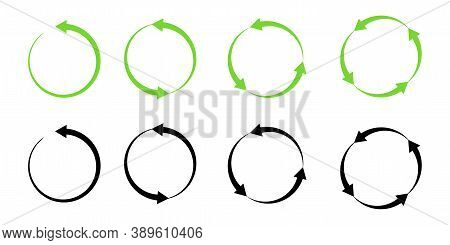 Green And Black Circular Arrows. Recycling And Movement Symbol. Reload Sign. Vector Illustration.