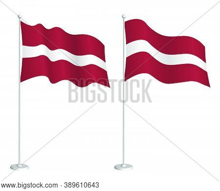 Flag Of Latvia On Flagpole Waving In The Wind. Holiday Design Element. Checkpoint For Map Symbols. I