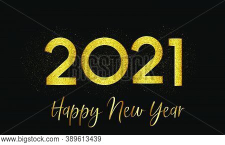 2021 New Year Golden Number With Golden Particle Effect Background Illustration - Happy New Year 202