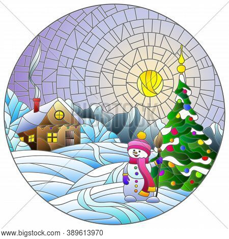 Illustration In Stained Glass Style With Christmas Landscape, Rustic House, Christmas Tree And Snowm