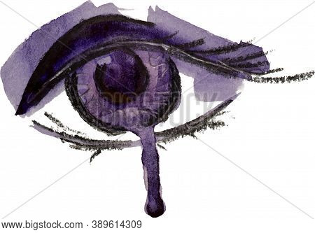 Watercolor Abstract Fashion Eye Hand Drawn Eps10 Vector Illustration. Paint Running. Crying, Tear, D