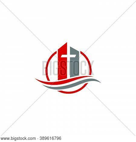 Church Logo. Christian Symbols. The Cross Of Jesus, The Fire Of The Holy Spirit