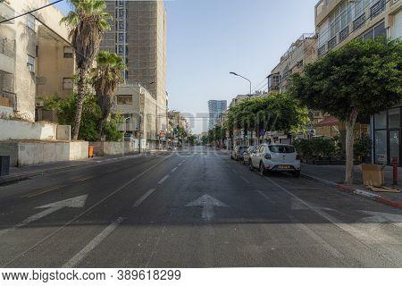 Israel, Tel Aviv - 28 September 2020: Empty Streets During Coronavirus Quarantine. Empty Streets Dur