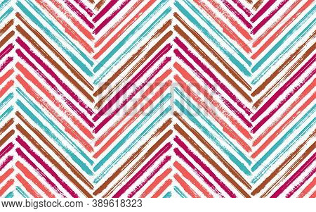 Colorful Zigzag Interior Print Vector Seamless Pattern. Paintbrush Strokes Geometric Stripes. Hand D