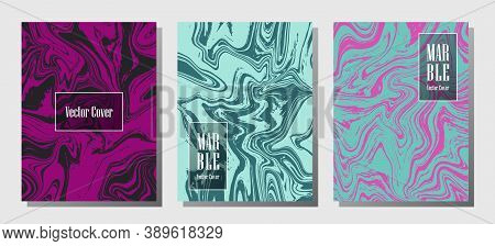 Hipster Marble Prints, Vector Cover Design Templates. Fluid Marble Stone Texture Iinteriors Fashion