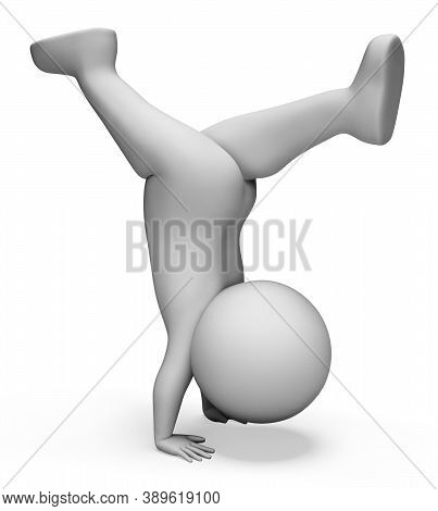 Handstand Exercise Meaning Physical Activity And Exercises 3d Rendering