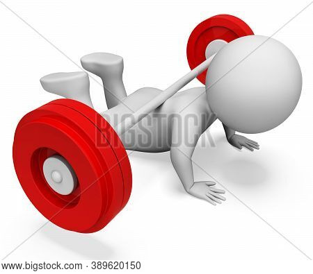 Exercise Character Showing Getting Fit And Man 3d Rendering
