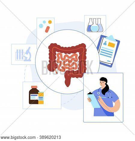 Intestine Logo For Gastrointestinal Clinic Or Hospital. Bowel, Appendix, Rectum And Colon Anatomy. D
