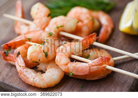 Salad Grilled Shrimp Skewers Delicious Seasoning Spices On Wooden Plate Appetizing Cooked Shrimps Ba
