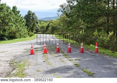 Road Cone / Orange Traffic Cones Standing In A Row On Asphalt On The Road Mountain