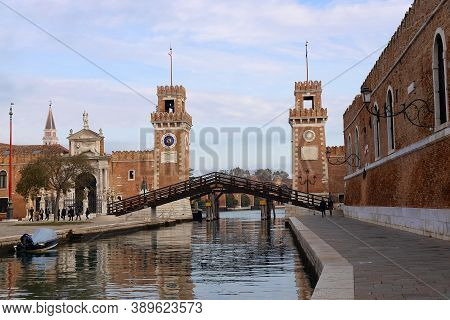 Venice, Italy - October 19, 2019: View Of Arsenal From Canal.