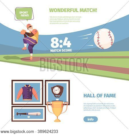 Baseball Game Banner. Exciting National Game Of Throwing Ball And Hitting With Bat American Sporting