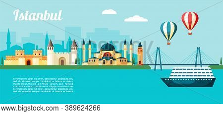 Excursion To Istanbul Illustration. Colorful Seaport With Inbound Cruise Ship Ancient Turkish Landma