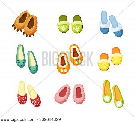 Indoor Slippers Set. Comfortable Green With Drawing Chamomile Convenient Pink Fluffy Creative In For