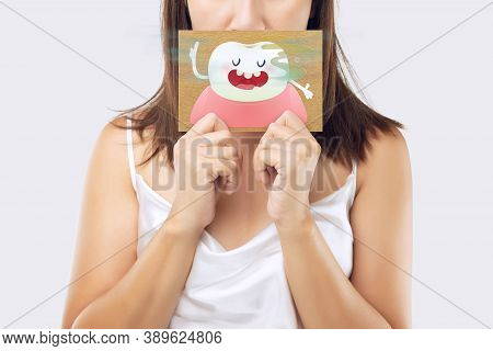 A Woman Wearing A White Dress Holding A White Paper With An Open Mouth Cartoon Image. On A Light Gra