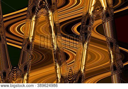Abstraction Of Glass Crystal With Distortions In Gold Colors. Crystal Glass Illustration In Gold Col