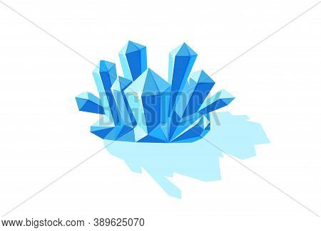 Crystals Of Ice With Shade. Crystal Druse Made Of Blue Mineral Isolated In White Background. Vector