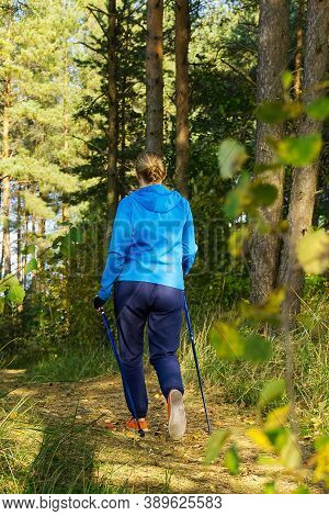 Women With Sticks In Autumn Forest Making Nordic Walking. Women Hiking In Autumn Park With Scandinav