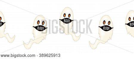 Halloween 2020 Coronavirus Ghosts Wearing Face Masks Seamless Border. Covid Social Distancing Hallow