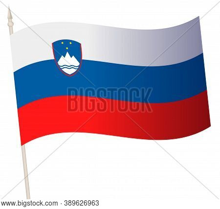 Vector Waving Flag On A Flagpole. The National Flag Of Slovenia.