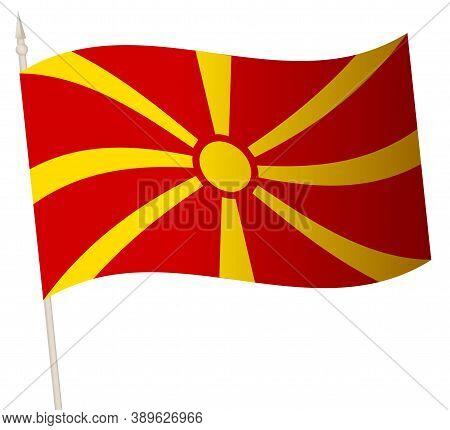 Vector Waving Flag On A Flagpole. The National Flag Of Macedonia.