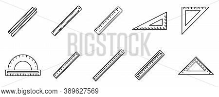 School Ruler Icons Set. Outline Set Of School Ruler Vector Icons For Web Design Isolated On White Ba