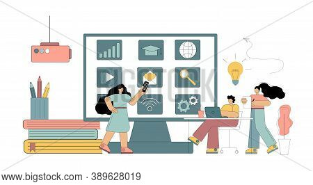 Concept Digital Classroom, Virtual Learning, Online Learning. Flat People Study, Conduct A Seminar,