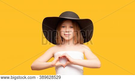 Love Sign. Supportive Child Portrait. Affection Care. Compassion Encouragement. Young Girl In Black