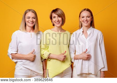 Satisfied Women. Like Gesture. Approval Sign. Support Encouragement. Group Portrait Of Three Happy L