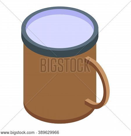 Steel Mug Icon. Isometric Of Steel Mug Vector Icon For Web Design Isolated On White Background