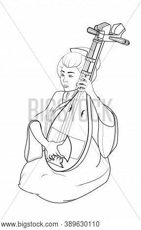 Japanese Girl Playing A Stringed Musical Instrument Biwa